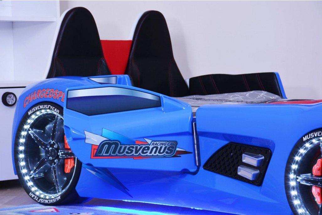 Audi V7 Süperlüx Arabalı Yatak Mavi Koltuklu Full Ledli