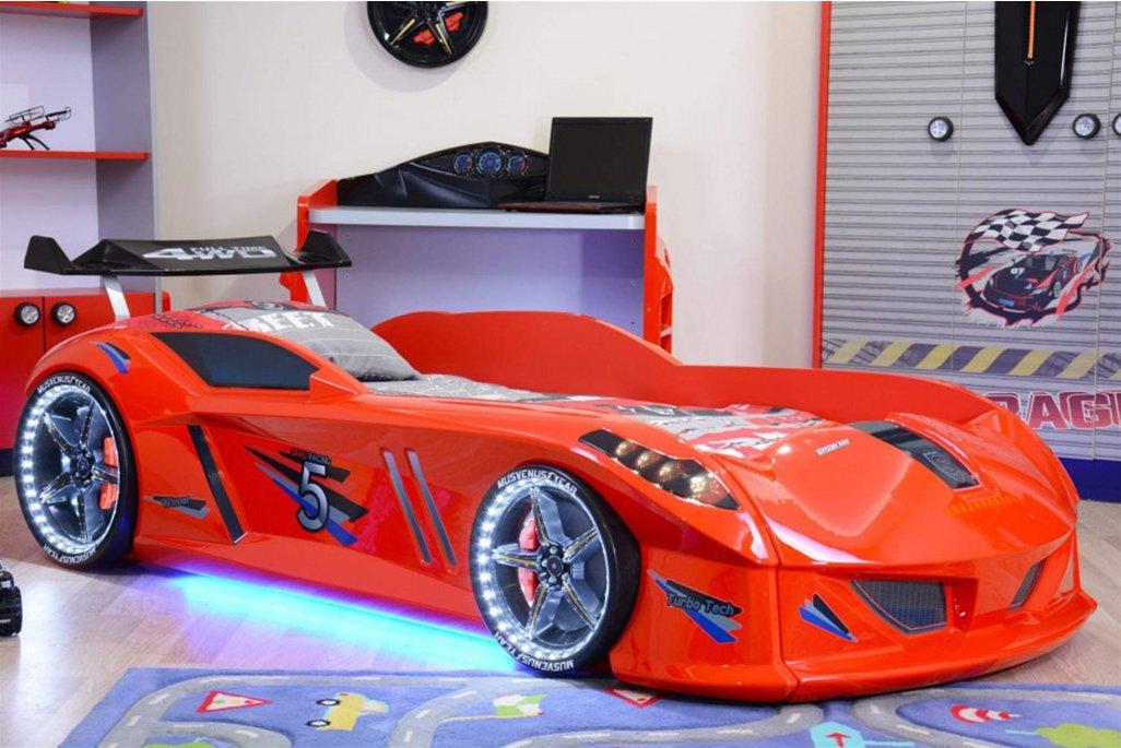 Jaguar Rüzgarlıklı Kırmızı Arabalı Yatak Full Ledli