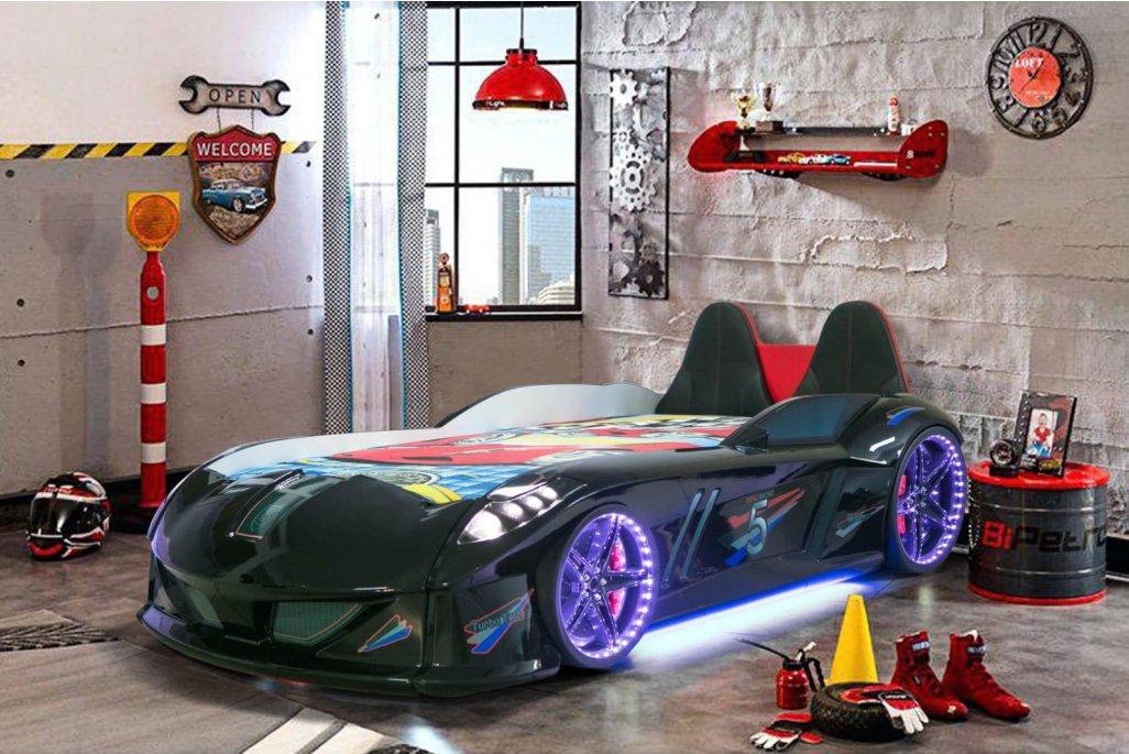 Jaguar Lüx Siyah  Arabalı Yatak Koltuklu Full Ledli