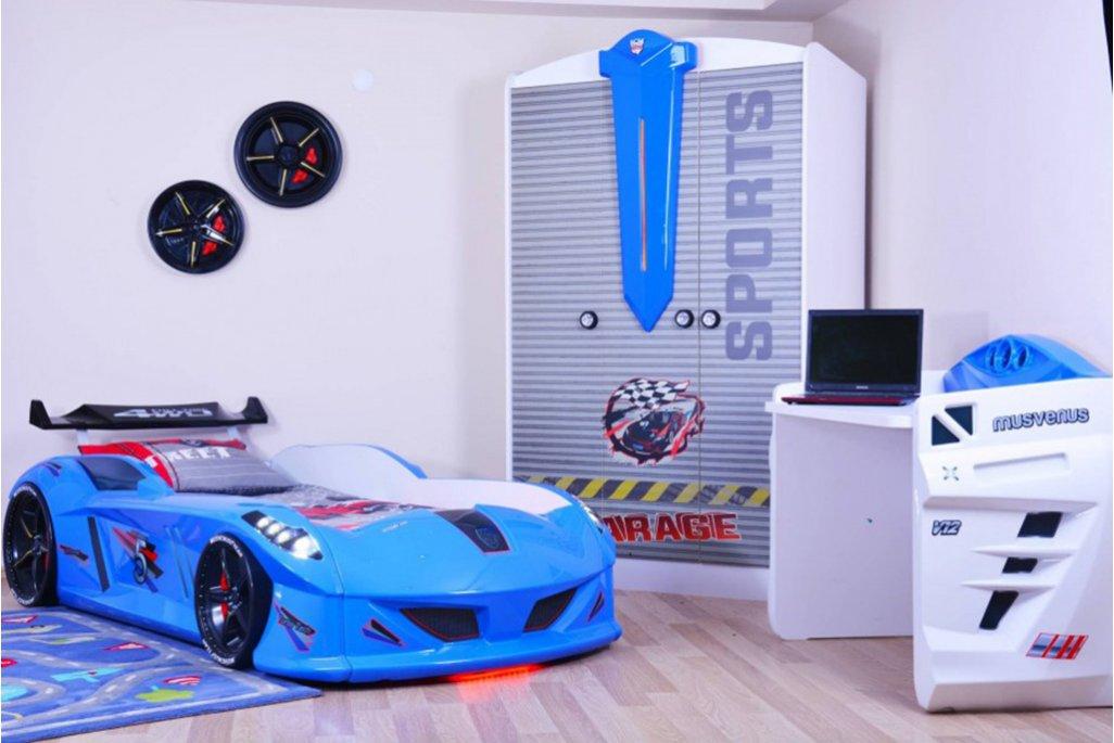 Jaguar Mavi Arabalı Yataklı Genç Odası Takımı