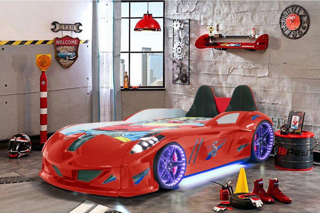 Jaguar Lüx Kırmızı  Arabalı Yatak Koltuklu Full Ledli
