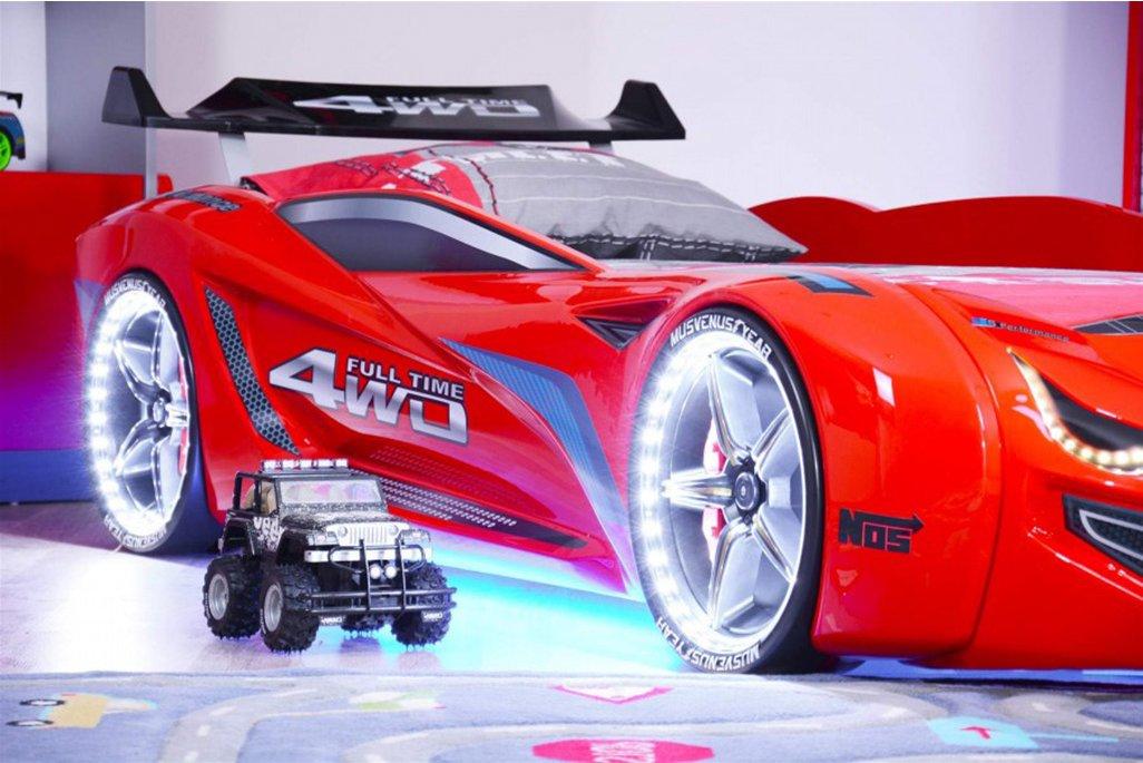 Mercedes Arabalı Yatak Kırmızı Full Ledli