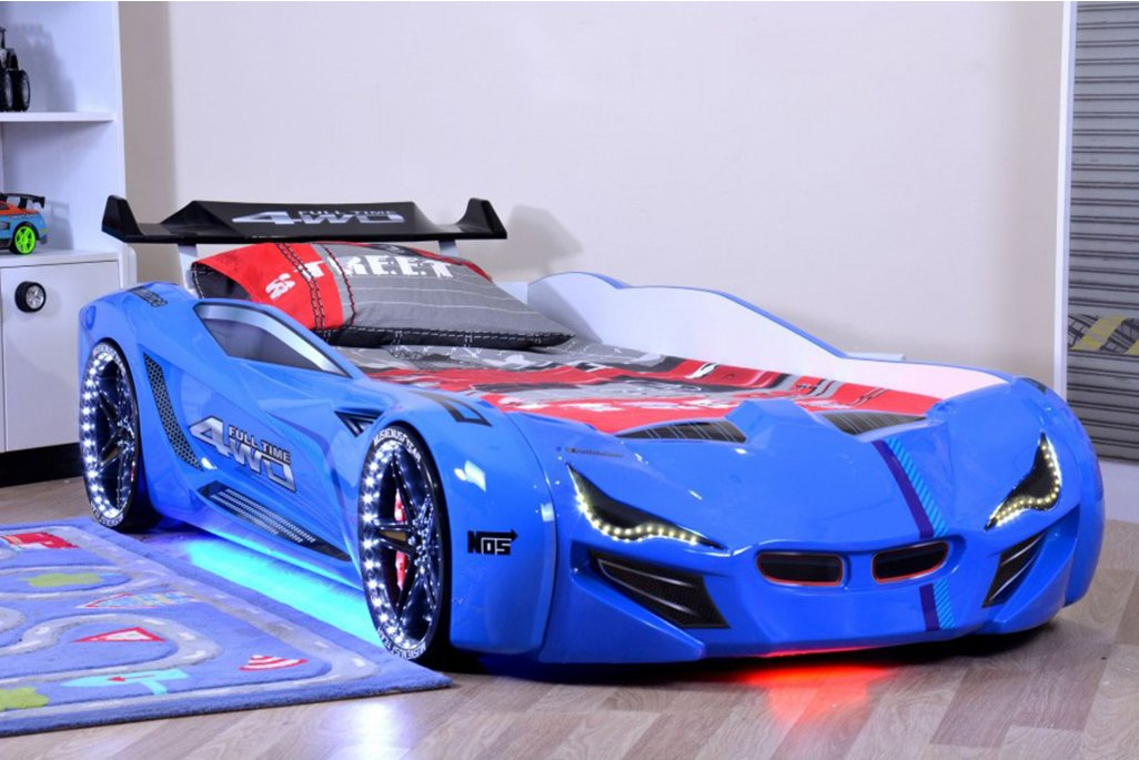 Mercedes Mavi Arabalı Yatak Full Ledli