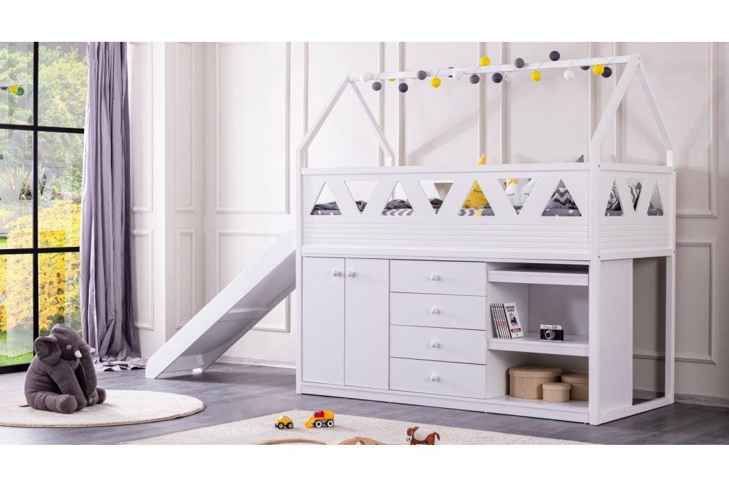 Oyun Evi Kaydıraklı Montessori Karyola