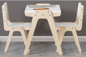 Ahşap Aktivite Masası + 2 Sandalye Oyuncak Seti