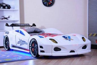 Ferrari Enzo Beyaz Arabalı Yatak Full Ledli