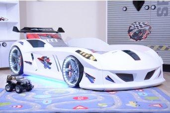 Jaguar Beyaz  Arabalı Yatak Full Ledli