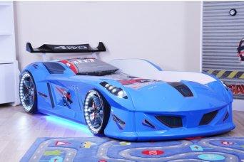 Jaguar Mavi Arabalı Yatak Full Ledli