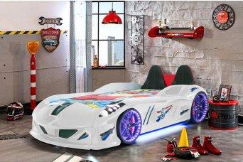 Jaguar Lüx Beyaz Arabalı Yatak Koltuklu Full Ledli